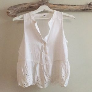 Gap Cropped White Blouse